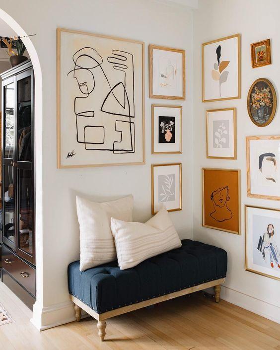 Beautiful gallery wall in a hallway