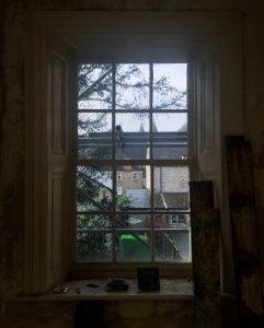 gloomy sash window