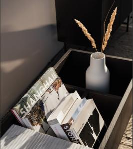 Books in a storage box